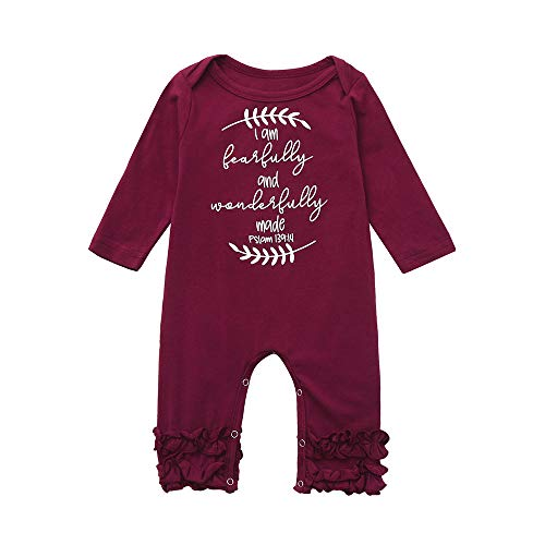 (Sikye Newborn Romper,Infant Baby Girls Boys Floral Print Letter Ruffles Bodysuit Casual Daily Outfit (Red, 70)