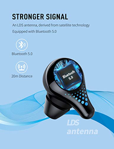 Wireless Earbuds, Bluetooth Earbuds with Charging Case, in-Ear Stereo Headphones,Built-in Dual Mics, IPX7 Waterproof, for Sports/Work