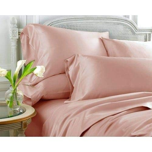 LINENWALAS Tencel Bed Sheets Queen - Softest and Thermal Regulating Sheets - Silk Like Soft Bed Sheet Set - 100% Natural Tencel Bedding (Queen, Rose Gold)
