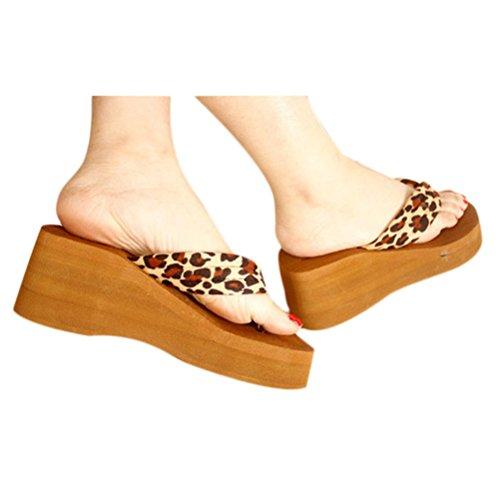 Transer 2016 1Pair Leopardo de las mujeres de la sandalia de la plataforma Plataformas Chancletas Casa zapatos de los deslizadores A