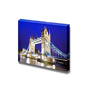 Canvas Prints Wall Art - The Iconic Tower Bridge of London Lit up at Night Over The River Thames - 12