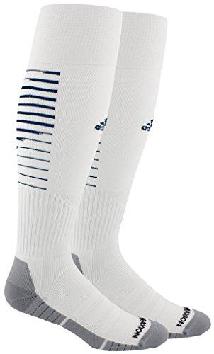 adidas Team Speed II Soccer Socks, (1-Pack), white/dark blue/light Onix, 13C-4Y