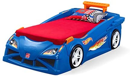 Amazon Com Step2 Hot Wheels Toddler To Twin Bed With Lights Vehicle Model Number 854600 Toys Games