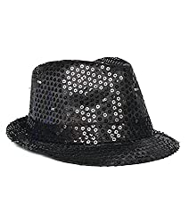 LED Light Up With Black Sequin Fedoras Hat
