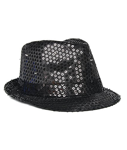 Fun Central O748 Black, LED Flashing Sequin Fedora Hat, Light Up Sequin Fedora Hat, Flashing Sequin Fedora Hat, LED Fedora Hats for Women -