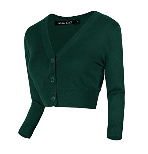 - Urban CoCo Women's Cropped Cardigan V-Neck Button Down Knitted Sweater 3/4 Sleeve (L, Dark Green)