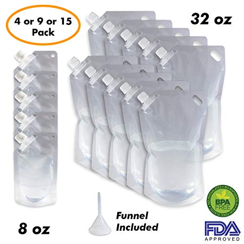 Cruise Ship Flask Kit - Reusable & Concealable Liquor Bags - Sneak or Smuggle Booze & Alcohol (10x32oz + 5x8oz + Funnel Included) by Millennial Essentials
