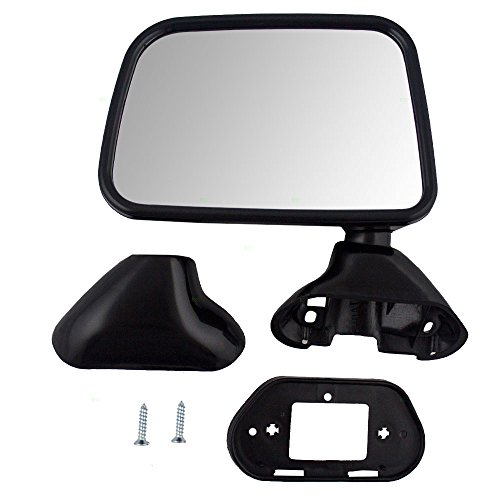 Drivers Manual Side View Door Skin Mounted Textured Mirror Replacement for Toyota Pickup Truck with vent window 87940-89141 (Drivers Mounted Manual Mirror Door)