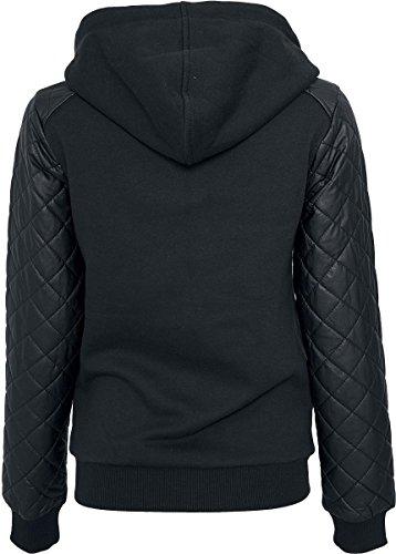 R.E.D. by EMP Diamond Leather Imitation Sleeve Zip Hoody Chaqueta con capucha Mujer Negro Negro
