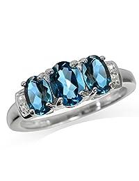 1.98ct. 3-Stone Genuine London Blue Topaz 925 Sterling Silver Ring