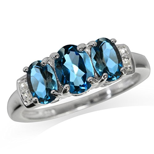 1.98ct. 3-Stone Genuine London Blue Topaz 925 Sterling Silver Ring Size 9