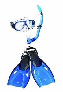 Speedo Adult Adventure Mask/Snorkel/Fins Set, Blue, Small/Medium
