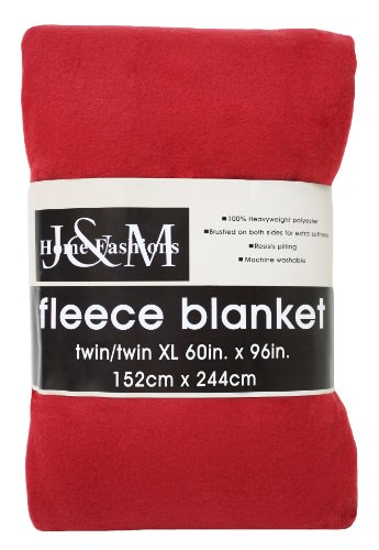 J & M Home Fashions 60-Inch by 96-Inch Fleece Blanket, Twin/Twin X-Large, (Twin Red Blanket)