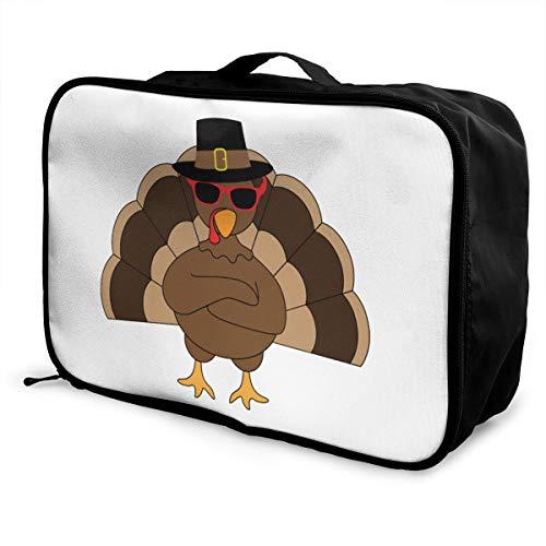 Cool Turkey With Sunglasses Lightweight Large Capacity Portable Luggage Bag Fashion Travel Duffel Bag