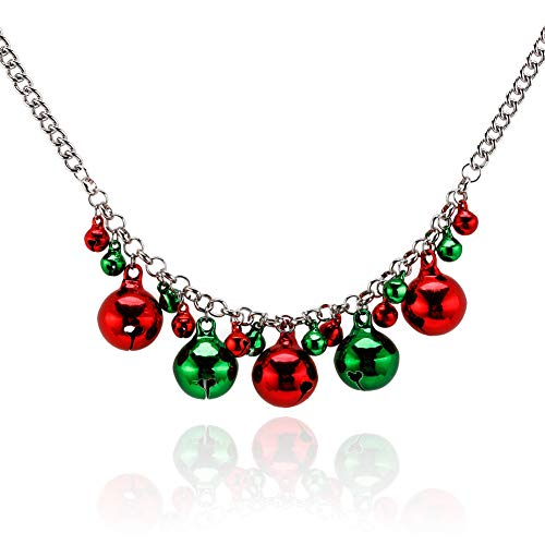 (Christmas Necklace for Girls X-Mas Holiday Jingle Bells Necklace Statement Colorful Necklace for Women)