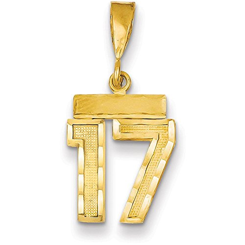 14k Yellow Gold Diamond-cut Number Seventeen Charm Pendant - # 17 - Yellow Gold (Gold 17 Jewel)