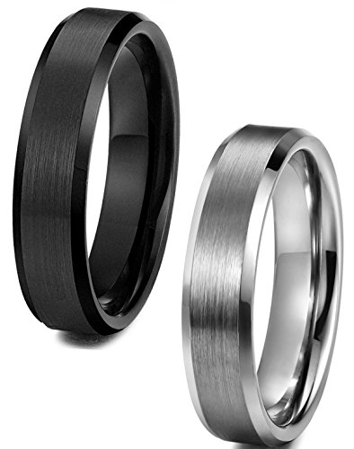 Tungary Jewelry Tungsten Carbide Rings for Men Women Wedding Engagement Band Promise Brushed 6mm Size 6-14 2 Pcs a Set 2-11.5 - Edge Solid Tungsten Carbide Ring