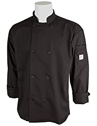 Mercer Culinary M60010BK4X Millennia Unisex Cook Jacket with Traditional Buttons, 4X-Large, Black