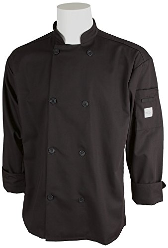Mercer Culinary M60010BKS Millennia Men's Cook Jacket with Traditional Buttons, Small, (Ladies Traditional Chefs Jacket)