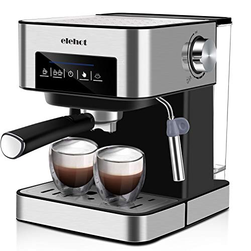 ELEHOT Coffee Makers Espresso Machine with 15 Bar Pump and Milk Frother Stainless Steel,850W