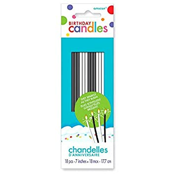 Party Time Sparkling Thin Novelty Glitter Birthday Candles Pack Of 18 Black And White