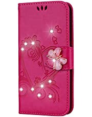 Ostop Wallet Case for Samsung Galaxy A10/M10,for Girls Women Premium PU Leather Case with Card Holder and Kickstand Glitter Diamond Heart Flowers Floral Pattern 3D Butterfly Flip Cover,Red
