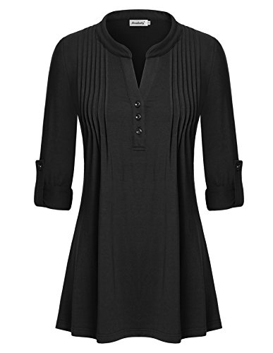 Peaches Wrap Scrub Top (Ninedaily Women Long Sleeve Roll-Up V Neck Button Down Pleated Tunic Shirt Black X-Large)