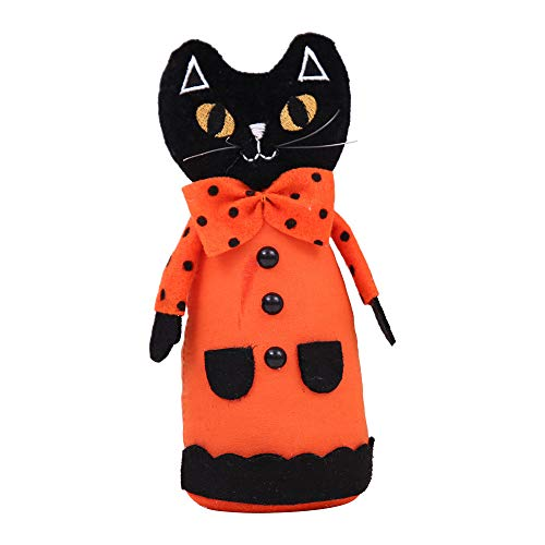ATOLY Trick Treat Halloween Decoration,Fun Halloween Decorations, Black Kawaii Doll, Black Halloween Decoration, 8.73.5Inch (Height Width), Black Orange Bow -