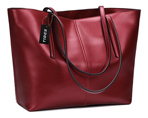 Tibes Bolso genuino del diseñador de las señoras Bolso de cuero Mujeres monedero Vino rojo