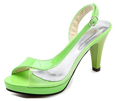 Sexy Sandales Vert Bal Talon Fille 8cm D'orsay Transparent Haut Femme Aisun 5vqHwUxv