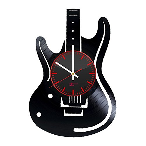 Handmade Modern Decorative Vinyl Record Wall Clock – Get unique bedroom or kitchen wall decor – Gift ideas for women and girls – Electric Guitar Ornam…