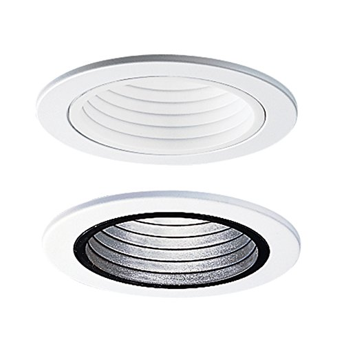 Halo RE-4001BB 4001BB E26 Series Black Recessed Lighting Plastic Step Baffle Trim Ring, 4