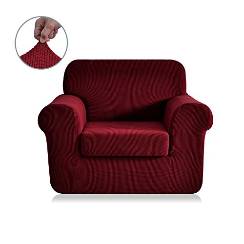 Wine 2 Piece Set (CHUN YI 2-Piece Jacquard Polyester Spandex Sofa Slipcover (Chair, Wine))