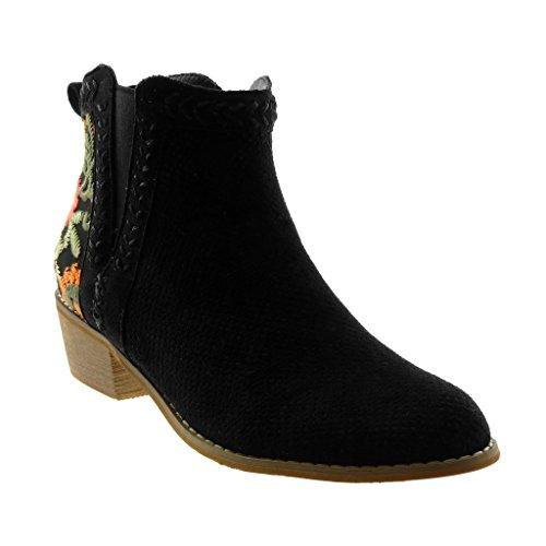Boots Mujer Alto Botines cm Tacón 4 Flores Mocasines Negro Angkorly Botas Zapatillas Moda Ancho Bordado Chelsea Perforado 0wqfY