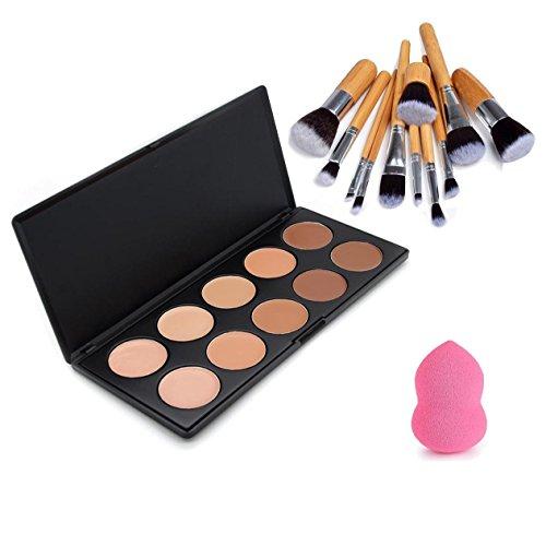Vodisa 10 Colour Makeup Concealer Palette- Cream Contour Kit- Blemish Face Contouring Highlighter Palette- Sleek Cosmetics Professional Base Foundation with Blender Sponge+11pcs Make Up Brushes Set