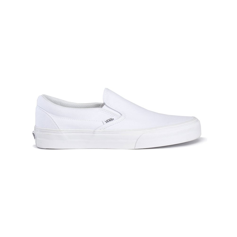 VANS Classic Slip Ons Skate Shoes Sneakers Canvas Surf True White 8 Men 9.5 Women