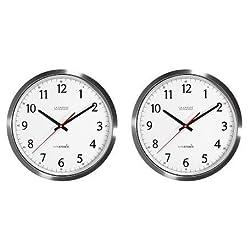 La Crosse Technology 404-1235UA-SS 14 Inch UltrAtomic Analog Stainless Steel Wall Clock (2-(Pack))