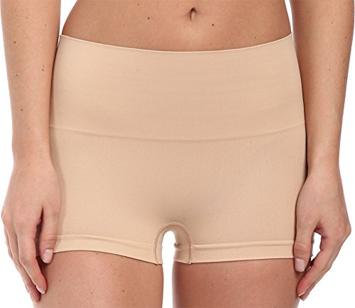 SPANX Women's Everyday Shaping Panties Seamless Boyshort, Soft Nude, Medium