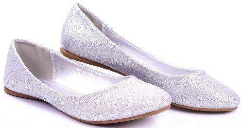 Scout Simple Glitter Ballet Plat Arrondi Orteil Décontracté Confort Flats Argent