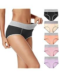 Women's High Waist Cotton Underwear Soft Breathable Panties Stretch Briefs 5-Pack