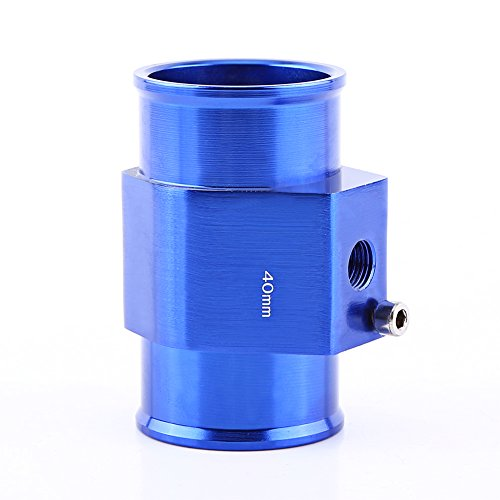 (Universal Water Temp Joint Pipe, Keenso Aluminum Water Temp Temperature Joint Pipe Sensor Gauge Radiator Hose Adapter, Blue 26mm - 40mm (40mm))