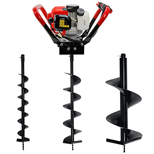 V-Type 55CC 2 Stroke Gas Posthole Digger One Man Auger (Digger + 4'' 6'' 12''Bits) by XtremepowerUS