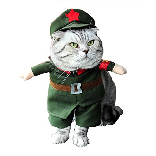 [SELMAI Soldier Dog Costume Military Coat with Hat All Seasons Green M, for Small Dog Cat Puppy] (Military Hat Costumes)