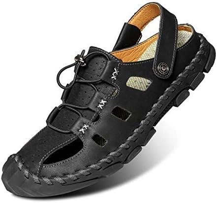 Sandalias y pantuflas para hombres, zapatos de playa antideslizantes de cuero para hombres, sandalias casuales de piel de vaca-Marrón 1668-2_47
