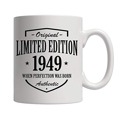 Limited Edition 70th Birthday Gifts for Men and Women - Original Authentic Anniversary Gift Ideas for Dad, Mom, Husband, Wife - Party Decorations for Him or Her Ceramic Coffee Mug White 11 oz.