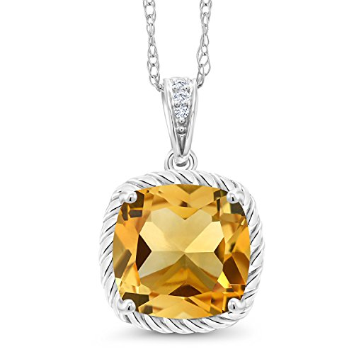Gem Stone King 10K White Gold Yellow Citrine and Diamond Pendant Necklace 3.02 Ct Cushion Cut Gemstone Birthstone with 18 Inch Chain ()
