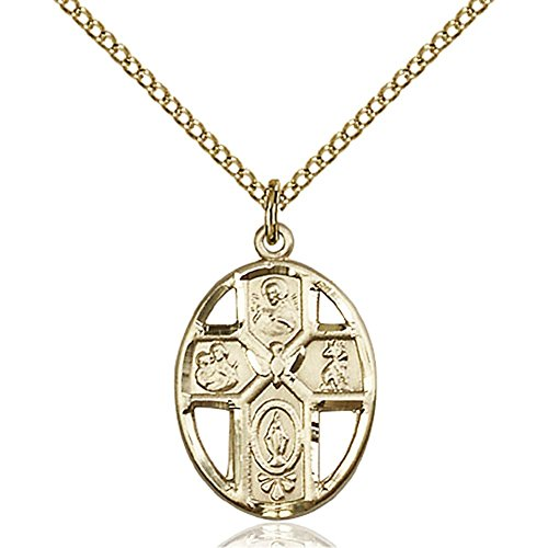 Gold Filled 5-Way / Holy Spirit Pendant 3/4 x 1/2 inches with Gold Filled Lite Curb Chain by Unknown