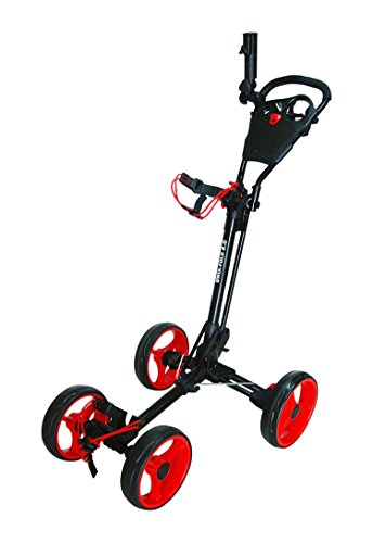 Qwik-Fold 4 Wheel Folding Push Pull Golf CART - Foot Brake - ONE Second to Open & Close! (Black/Red) (Best 4 Wheel Golf Push Cart)