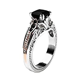 Clearance! Hot Sale! Fashion Women Copper Rings Black Gemstone Jewelry Wedding Rings Size 6-10 Engagement Gifts for Women,Gifts for Boyfriend Under 5 Dollars Valentine's Day Gifts for Girlfriend