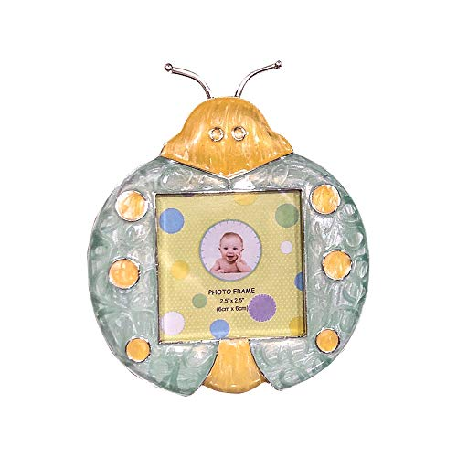 Forum Novelties Beetle Lady Bug Enamel Baby Photo Frame Picture Photograph Frames Tabletop Decor Pictures Display Portrait Decoration Blue Yellow ()